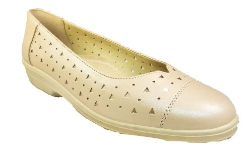 Faye slip on classic look summer ladies shoe from Padders. Buff